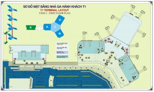 Sơ đồ nhà ga Nội Bài T1-Taxi Nội Bài Service Airport